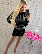 Czarna welurowa sukienka z diamencikami