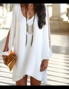 Biała sukienka szyfonowa rozmiar S