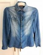 koszula jeans srebrne ćwieki długi rękaw r M 38