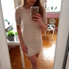Kremowa koronkowa sukienka koronka H&M XS 34