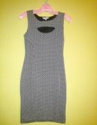 New Look Czarna sukienka w białe kropki M38