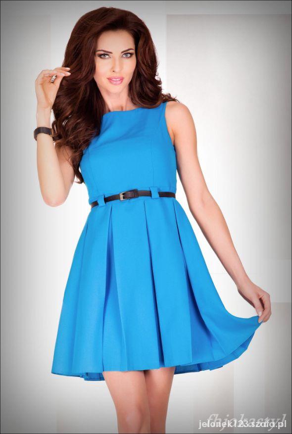 30e5ef9b Niebieska rozkloszowana sukienka PASEK S 36 w Suknie i sukienki ...