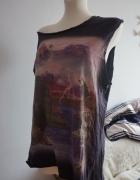 T shirt galaxy print frędzle L
