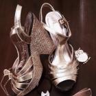 Złote koturny sandałki NEXT 37