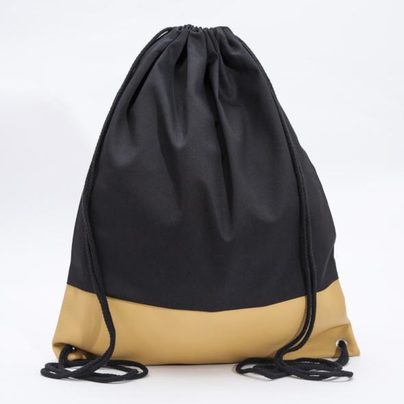 Czarno żółty plecak z ekoskóą ręcznie szyty...