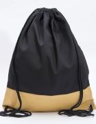 Czarno żółty plecak z ekoskóą ręcznie szyty