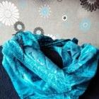 Piękna niebieska chusta duża boho etno wzory miękka