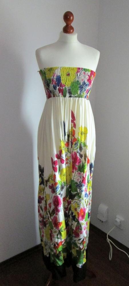 długa sukienka H&M w kwiaty maksi