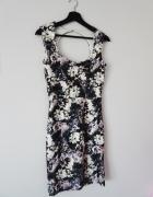 Sukienka w kwiaty elegancka floral neopren neoprenowa piankowa ...