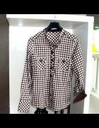 Koszula w kratę biała brązowa m 38 l 40 stójka