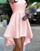Sukienka pudrowy róz z wydłużonym tyłem S