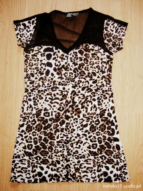 sukienka tunika PANTERKA dekolt z siatką S M