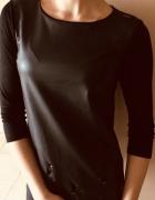 Czarna bluzka z imitacją skóry