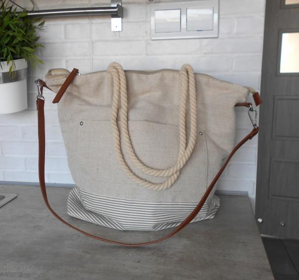 f9cd924716b43 Mango nowa płócienna torba shopper beżowa nude paski w Torebki na co ...