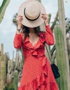 Sukienka w kropki groszki czerwona