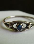Stary pierścionek szafirowe oczko srebro