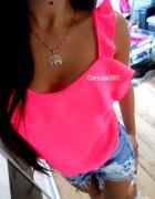 Zwiewna neonowa bluzeczka falbanki ozdobny tył