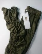 Zamszowe legginsy maszczone khaki