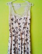 kremowa siateczka sukienka kwiaty floral S 36
