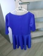Niebieska rozkloszowana elegancka sukienka