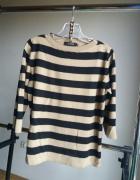 sweter Oversize w pasy paski bezowy r uniwersalny S M L