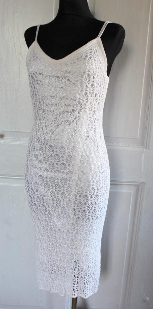 8430e6e64b996e Biała długa koronkowa sukienka r SM w Suknie i sukienki - Szafa.pl