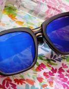 Duże okulary z niebieski refleksem