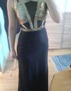 zjawiskowa maxi sukienka czarna złote cekiny