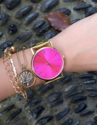 Damski Zegarek Złoty HIT Blogerek Różowa TARCZA