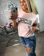 Różowa bluzka blonde