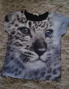 H&M t shirt z nadrukiem gepard