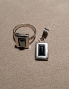 srebrny komplet zawieszka i pierścionek hematyt