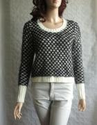 MISO sweter włochaty włochacz wzory czarny 38