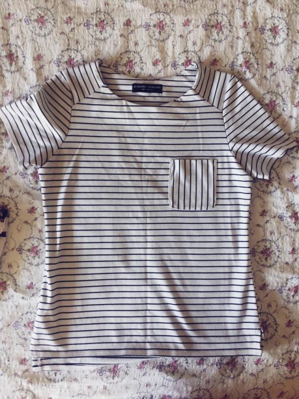 Bluzki bluzka tshirt paski basic biało czarna
