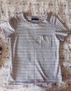 bluzka tshirt paski basic biało czarna...