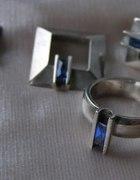 Srebrny komplet z szafirem pierścionek kolczyki
