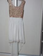 sukienka Atmosphere asymetria cekiny biel