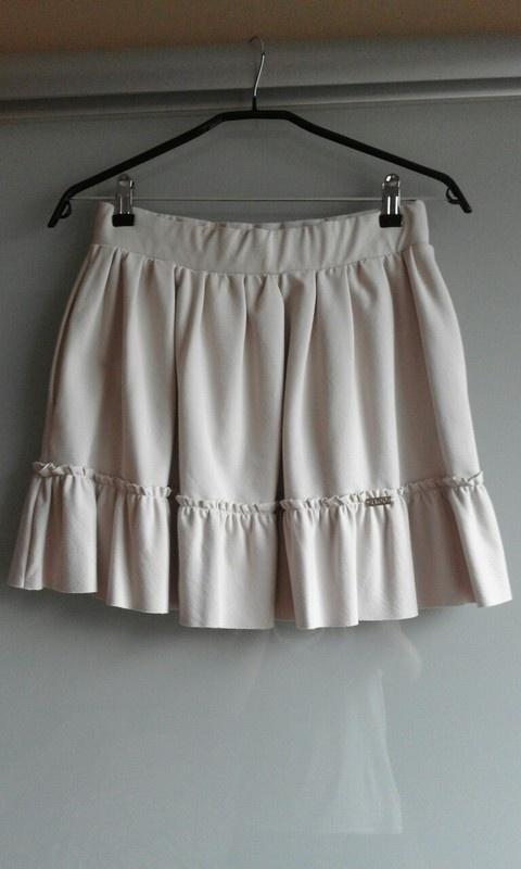 Spódnice Beżowa spódniczka mini z falbanką