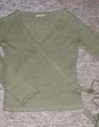 Reserved zielony ażurowy sweter mgiełka S