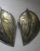 Piękne srebrne art kolczyki złocone liście