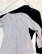 dwie bluzki Basic L beżowa i czarna H&M