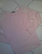 Bluza pudrowy roz koronka