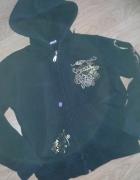 Czarna bluza z kapturem złote dzety