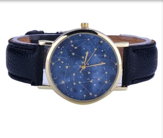 Zegarki zegarek na pasku UNIKAT niebo pełne gwiazd black