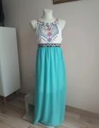 Sukienka maxi turkusowa S