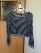 szary sweter w paski crop top