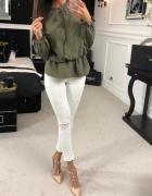 Elegancka bluzka O la Voga oliwkowa zielona khaki