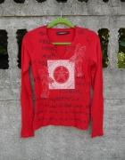czerwona Bluzka M z nadrukiem