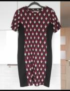 Dorothy Perkins sukienka bodycon wzory bordowa