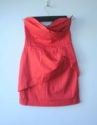 TFNC asos sukienka czerwona gorsetowa origami